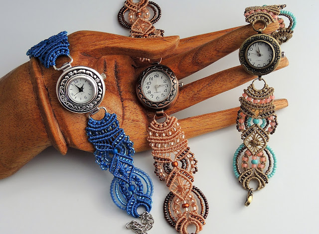 Micro Macrame bracelet watches by Sherri Stokey of Knot Just Macrame