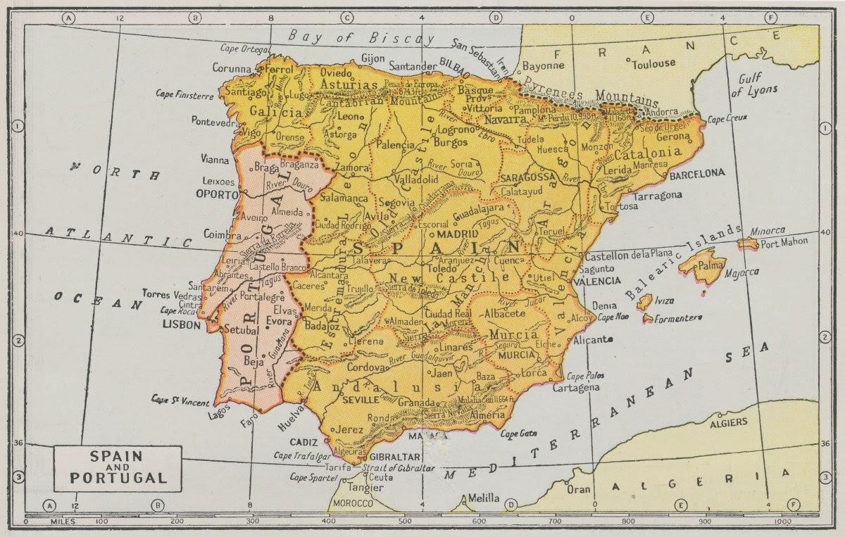 Mapa de España y Portugal 1950