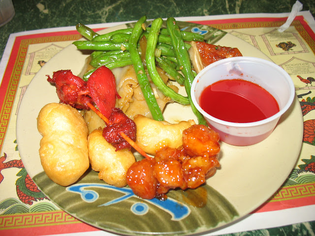 General Tso's chicken, sweet and sour, teriyaki, green beans and lo mein