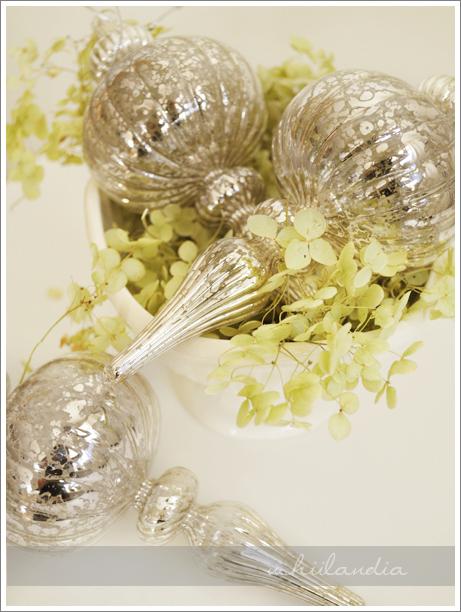 szklane bombki szklane srebrzone postarzane / mercury glass christmas ornaments