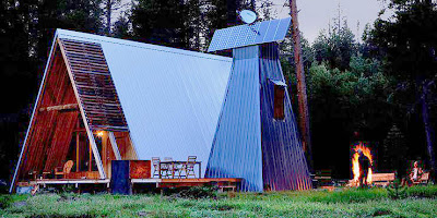Rustic meets modern at far meadow three very cool cabins for Modern a frame cabin