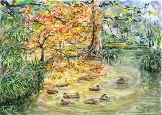 Beautiful New Zealand Landscape Garden Watercolor Painting on paper size 29.5 x 42 cm