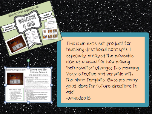http://www.teacherspayteachers.com/Product/Direction-Dice-Temporal-and-Spatial-concept-Speech-Therapy-575467