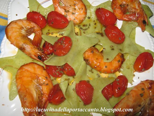 lasagne verdi di kamut scomposte alle mazzancolle