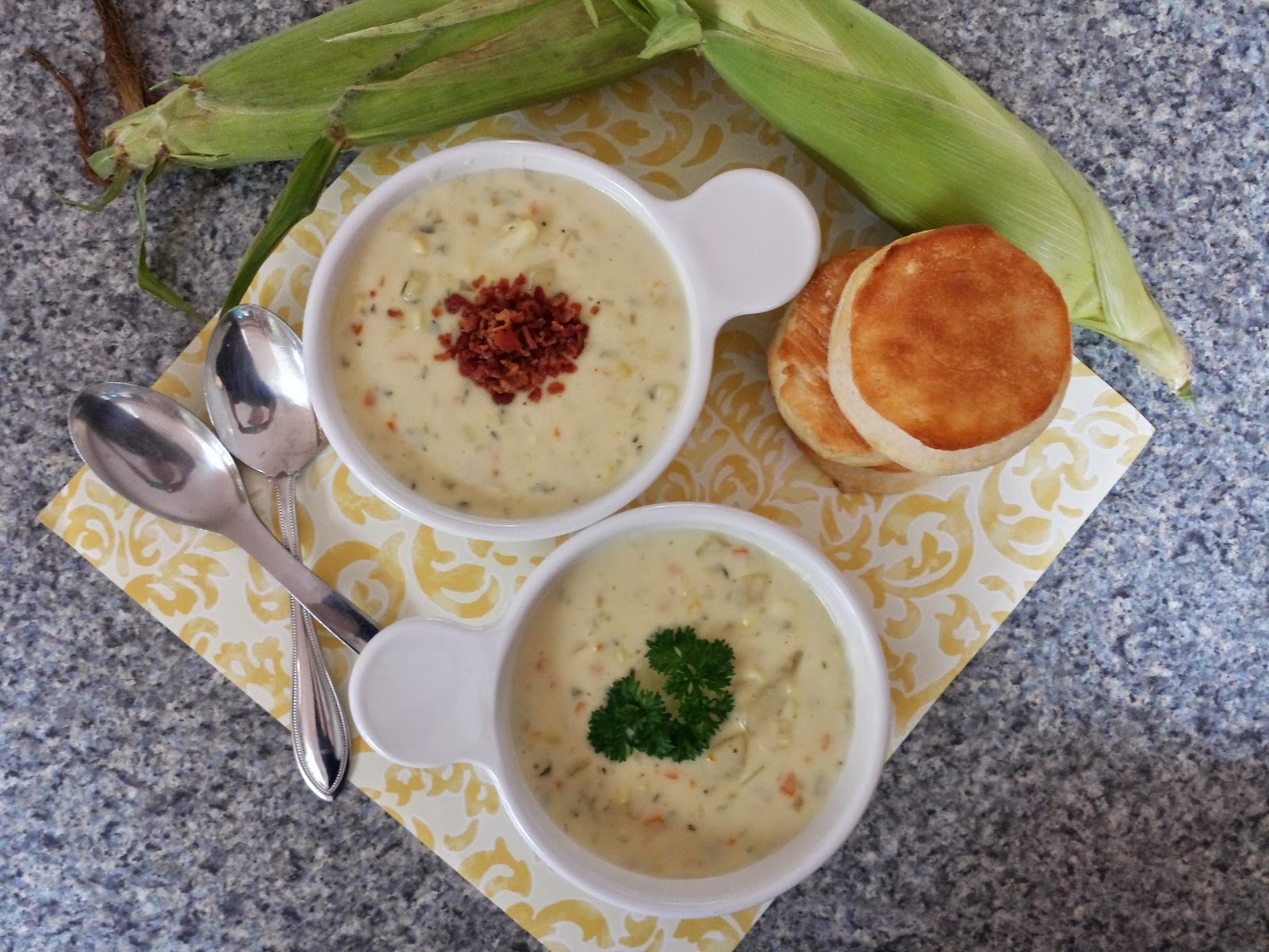 corn chowder with biscuits