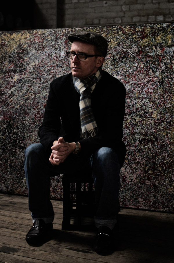 Adrian McDonald, portrait taken after a day of photographing his artworks 2012.
