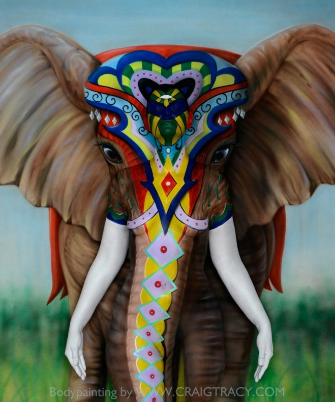 19-Elephant-Craig Tracy-Body-Paintings-on-Skin-Canvases-www-designstack-co
