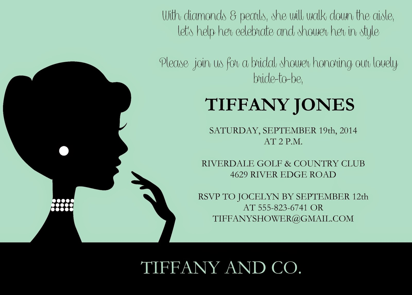 Glass Slipper Designs Tiffany and Co Little Black Dress and – Little Black Dress Bachelorette Party Invitations