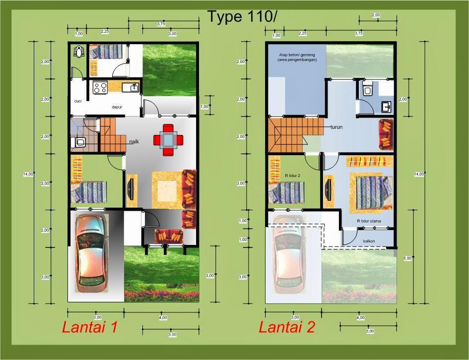 Denah Rumah Minimalis Modern Type 21