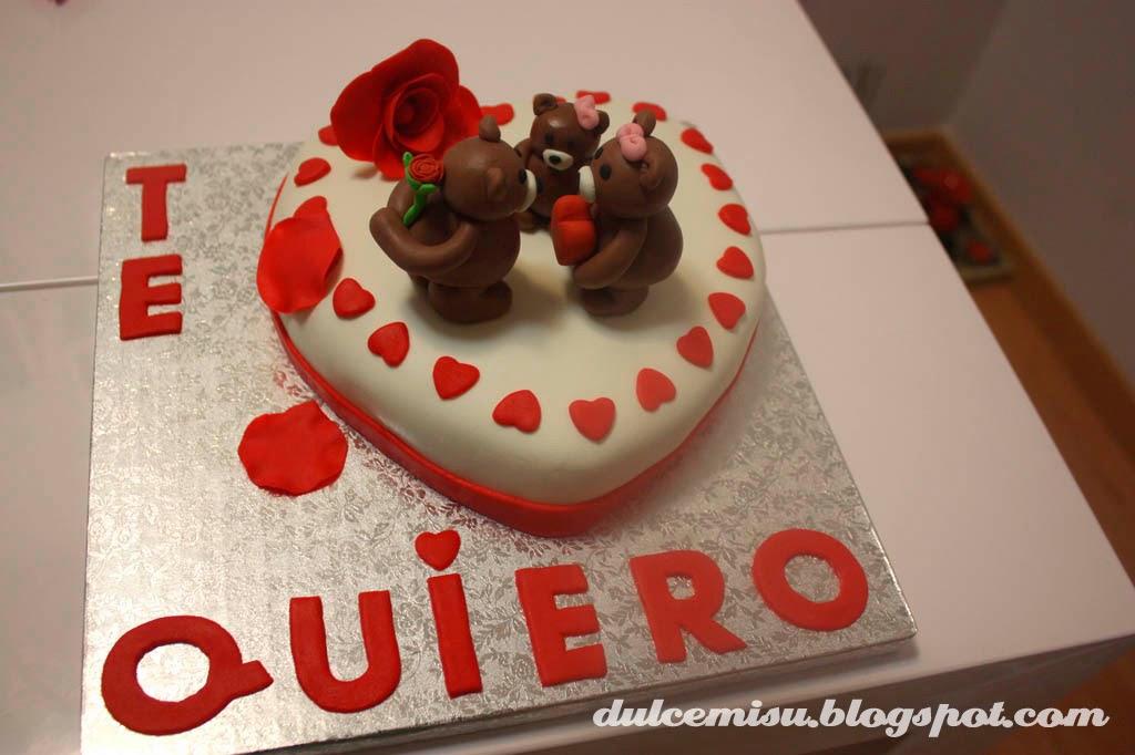 corazón, san valentin, fondant, dulcemisu, tarta, osos, rosa