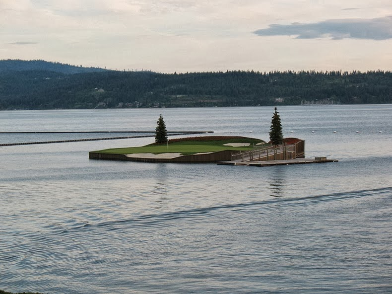 Amazing and Incredible: Floating Golf Course at Luxury Coeur d'Alene on floating golf game, floating golf hole, floating van, floating generator, floating tank, floating utv, floating golf green,