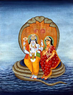 Lord Vishnu with his consort Lakshmi