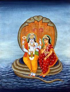 Lord Vishnu with his consort Lakshmi