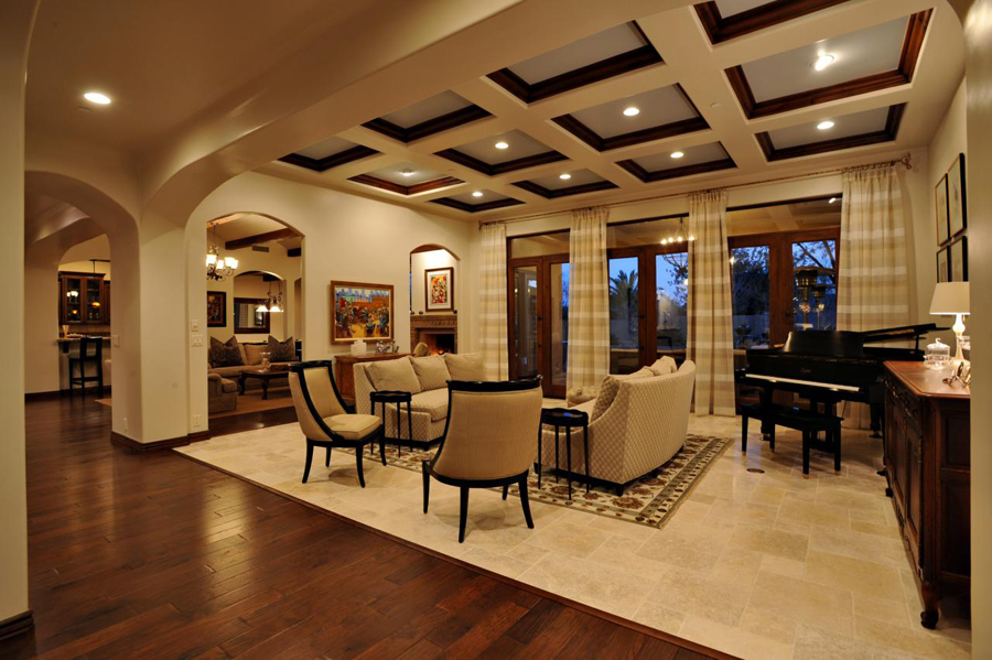 coffered false ceiling designs for living room from wood and plastic