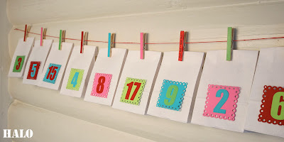Advent calendar from paper bags