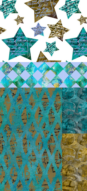 Stars & diamonds in 'Olive Teal Collection' by Ursula Smith