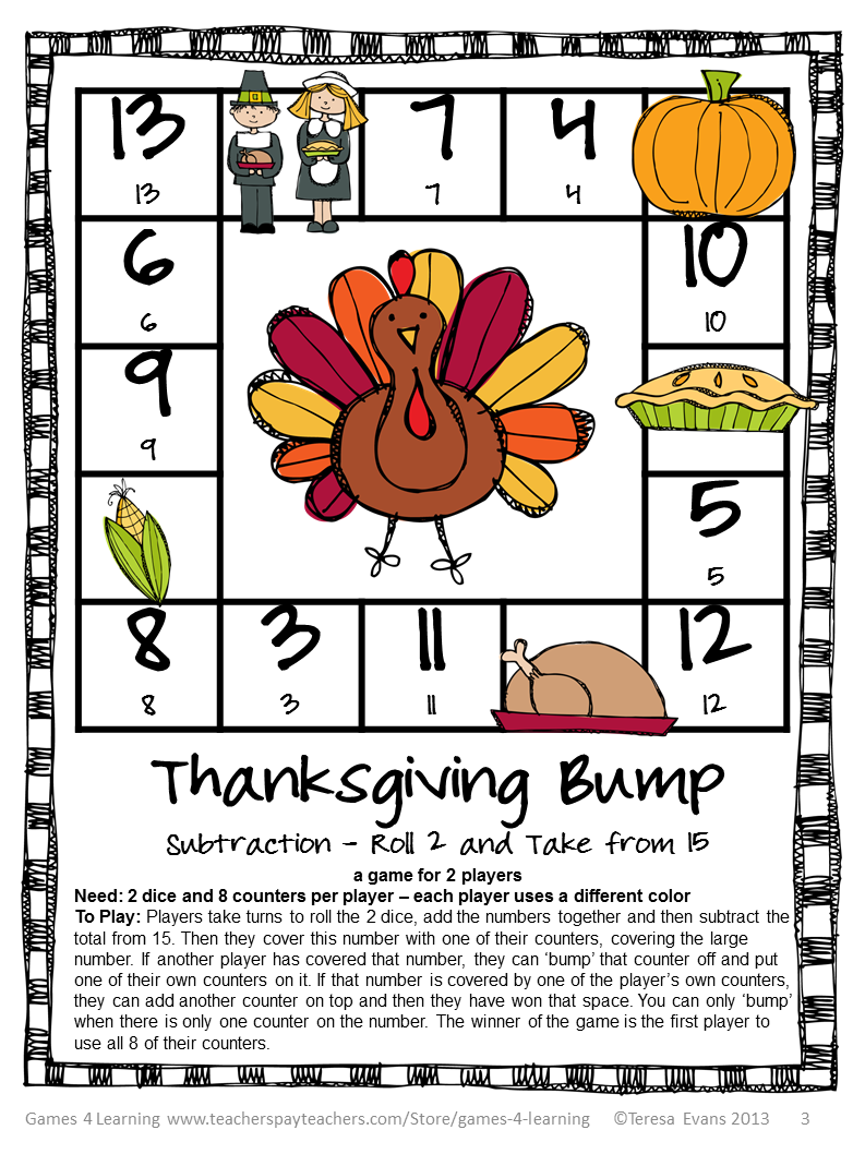 Fun Games 4 Learning: Thanksgiving Freebies