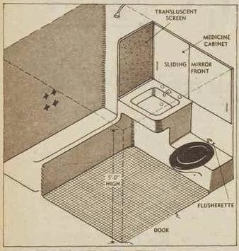 bathroom Plan of the 'future house' 1954 by Harry Siedler
