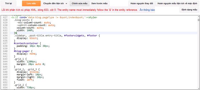 Lỗi không lưu được Template HTML khi chỉnh sửa Blogger Blogspot