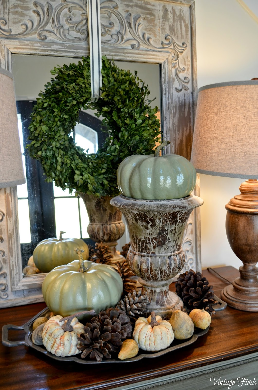 Vintage finds fall front porch and foyer