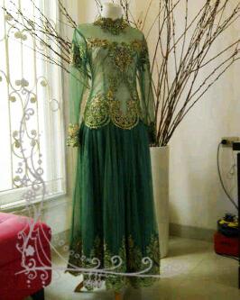 Kb 006 kebaya gaun payet green