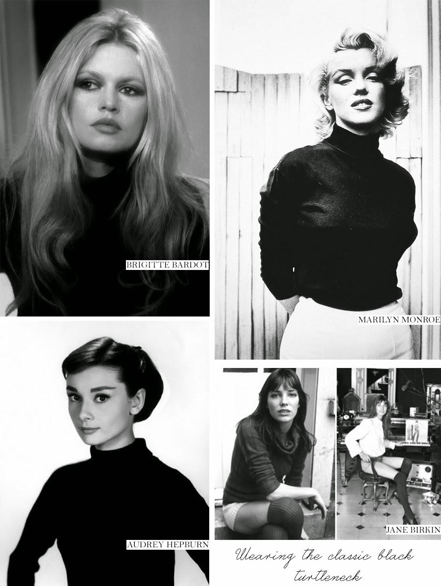 fashion icons wear turtleneck, turtle neck, turtle neck sweater, brigitte bardot, audrey hepburn, jane birkin