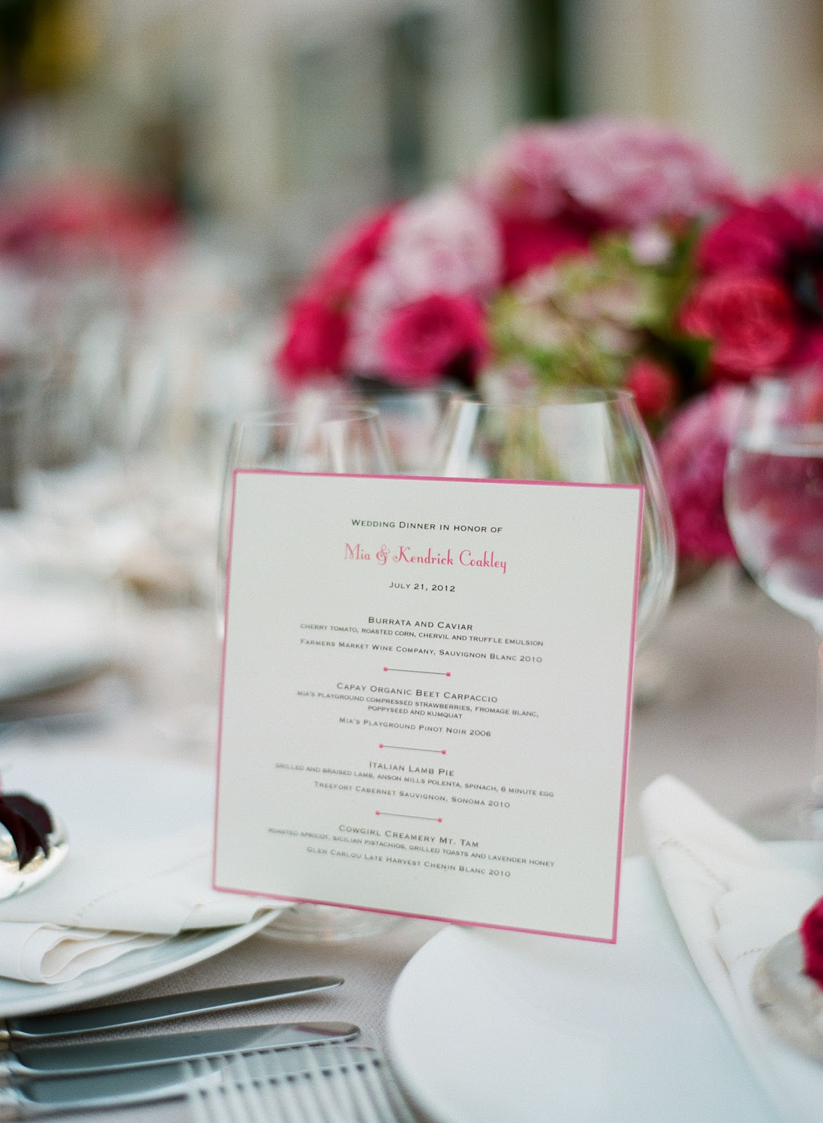 laurie arons blog: Tyler Florence Catered Sonoma Wedding Menu