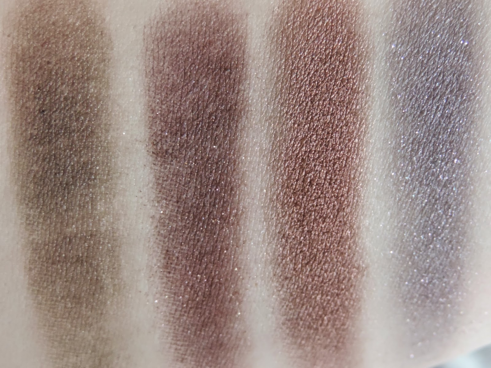 Swatches (from left) Black Forest, Triple Fudge, Amaretto, Candid Violet
