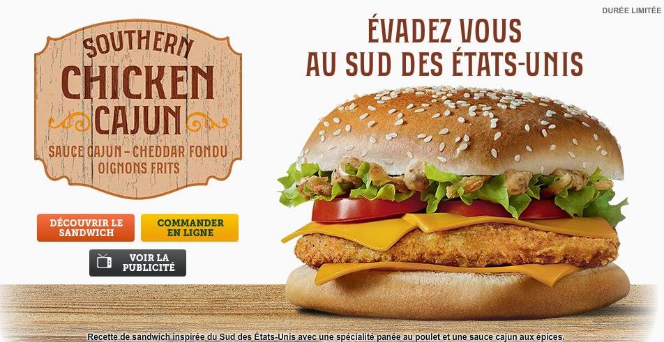 Nouveau sandwich mcdonalds : le Southern Chicken Cajun