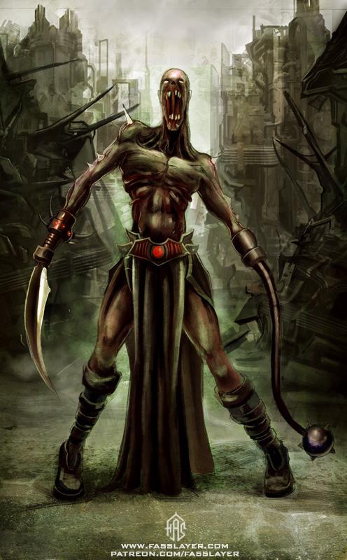 zombie warrior horror illustration