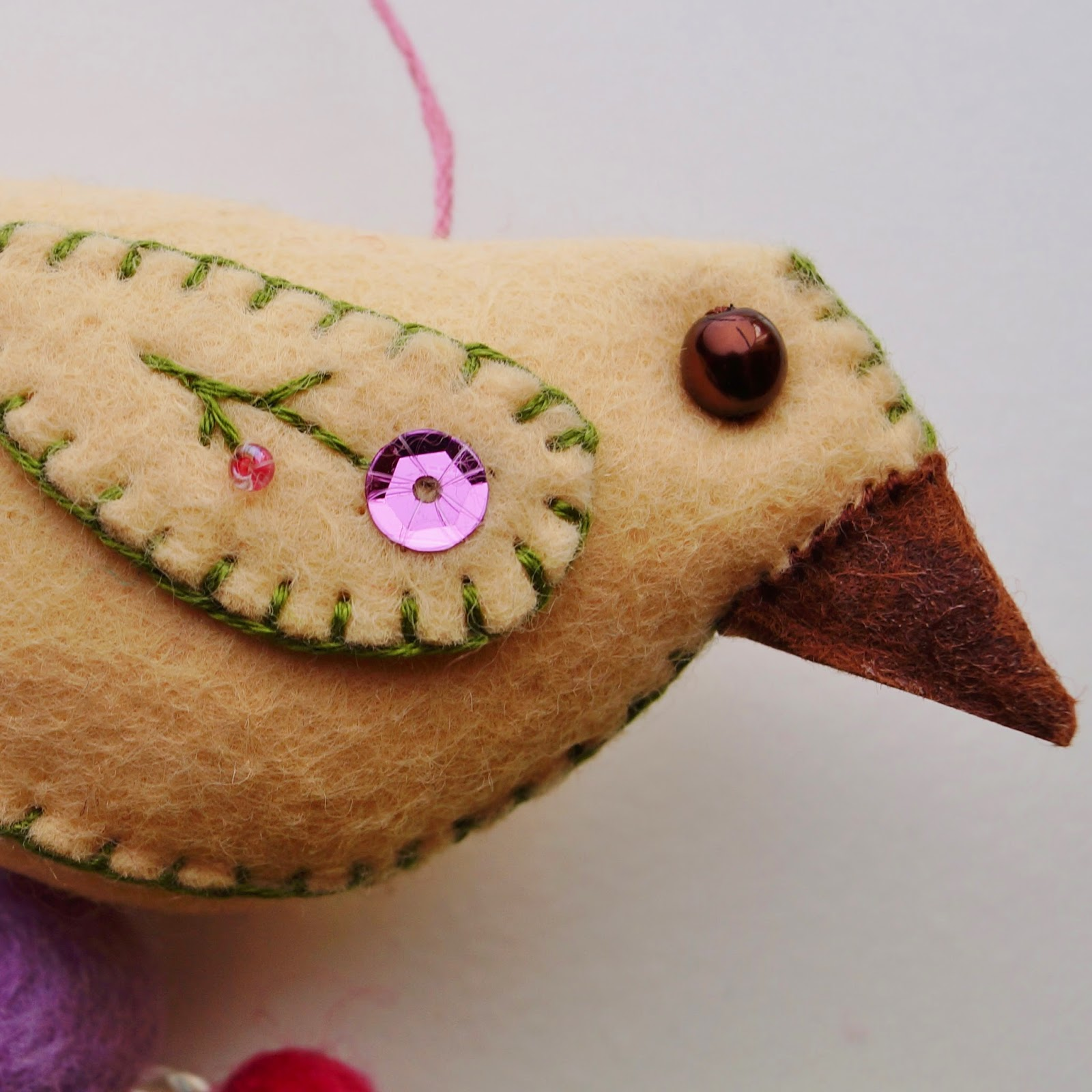 Felt bird, property of Carrie Gault - ohcherryblossomtattoo.com