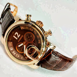 Jam Tangan Aigner Bari Swasa Brown Leather Coklat