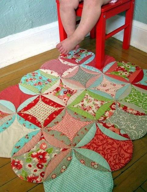 коврик из лоскутков  Mat patchwork