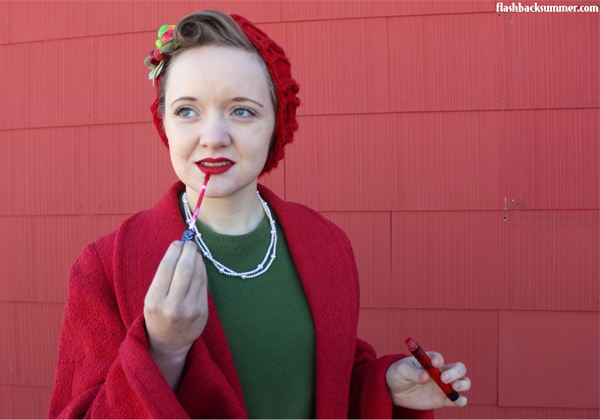 DYING over this outfit!  Christmas novelty skirt for the win!  I love the 1950s style.