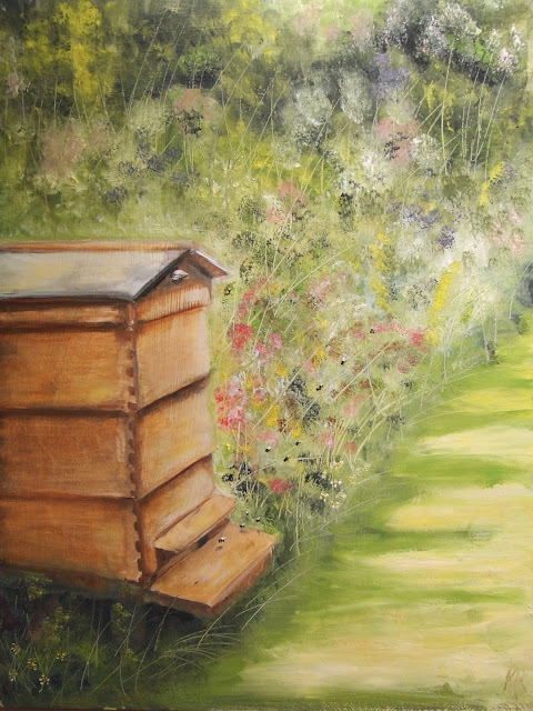 Oil painting of a bee hive in a summer garden