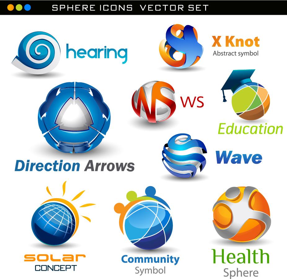 立体的な球体のロゴデザイン exquisite threedimensional logo イラスト素材