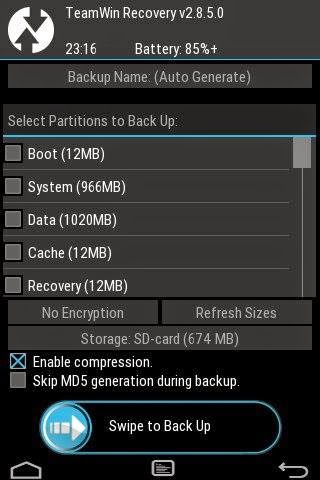 screenshot of twrp recovery for galaxy young gt-s6310