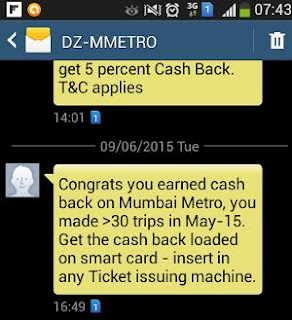 Mumbai metro cash back refund SMS intimation May 2015