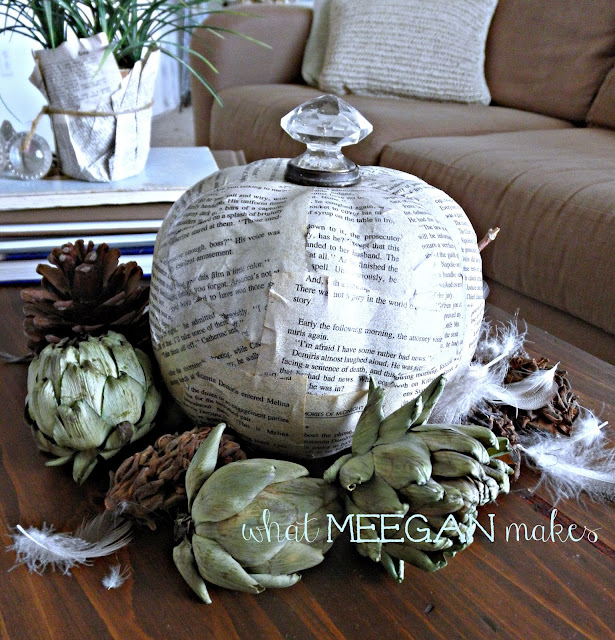 Book Page Pumpkin with a Door Knob Stem