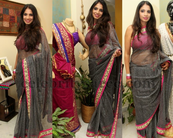 Gray Color Shimmer Saree