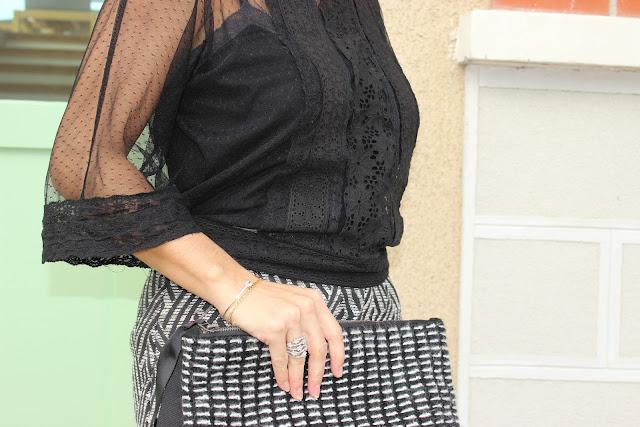 jupe grace & mila, manteau blanc naf naf, blouse noire transparente