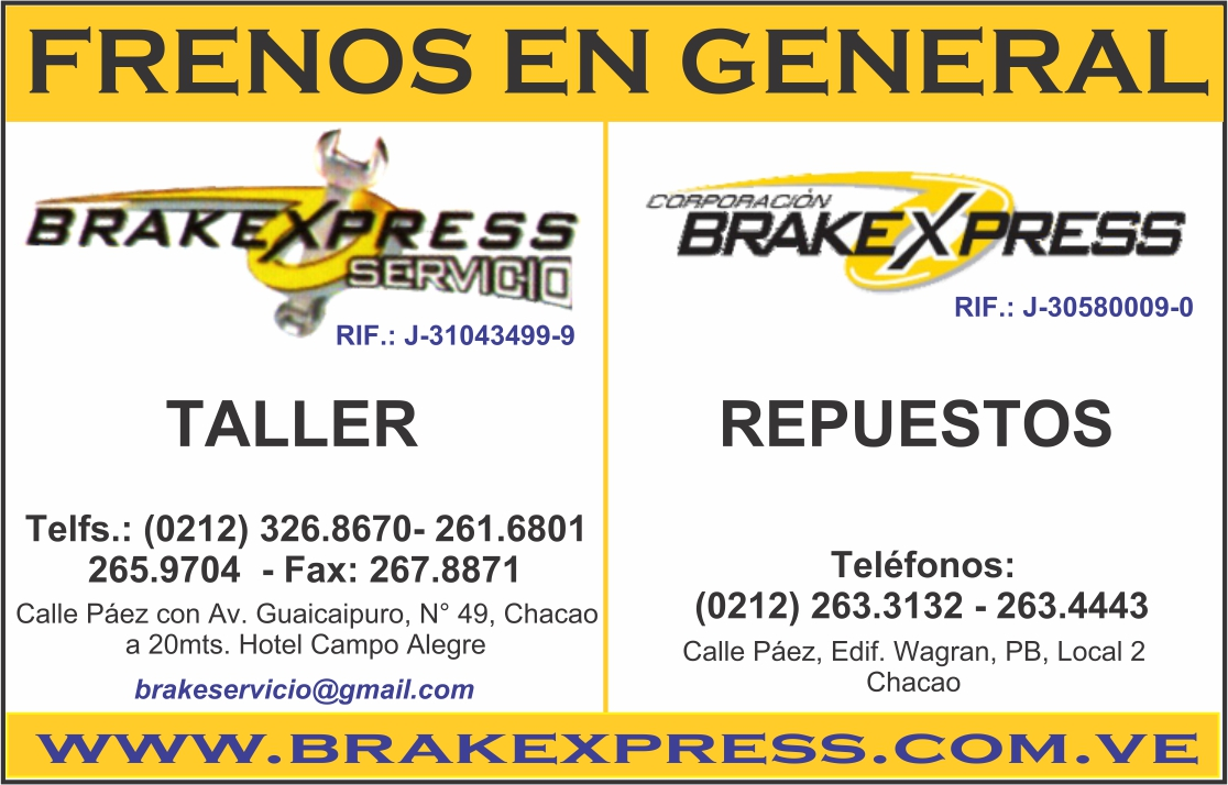 BRAKEXPRESS en Paginas Amarillas tu guia Comercial