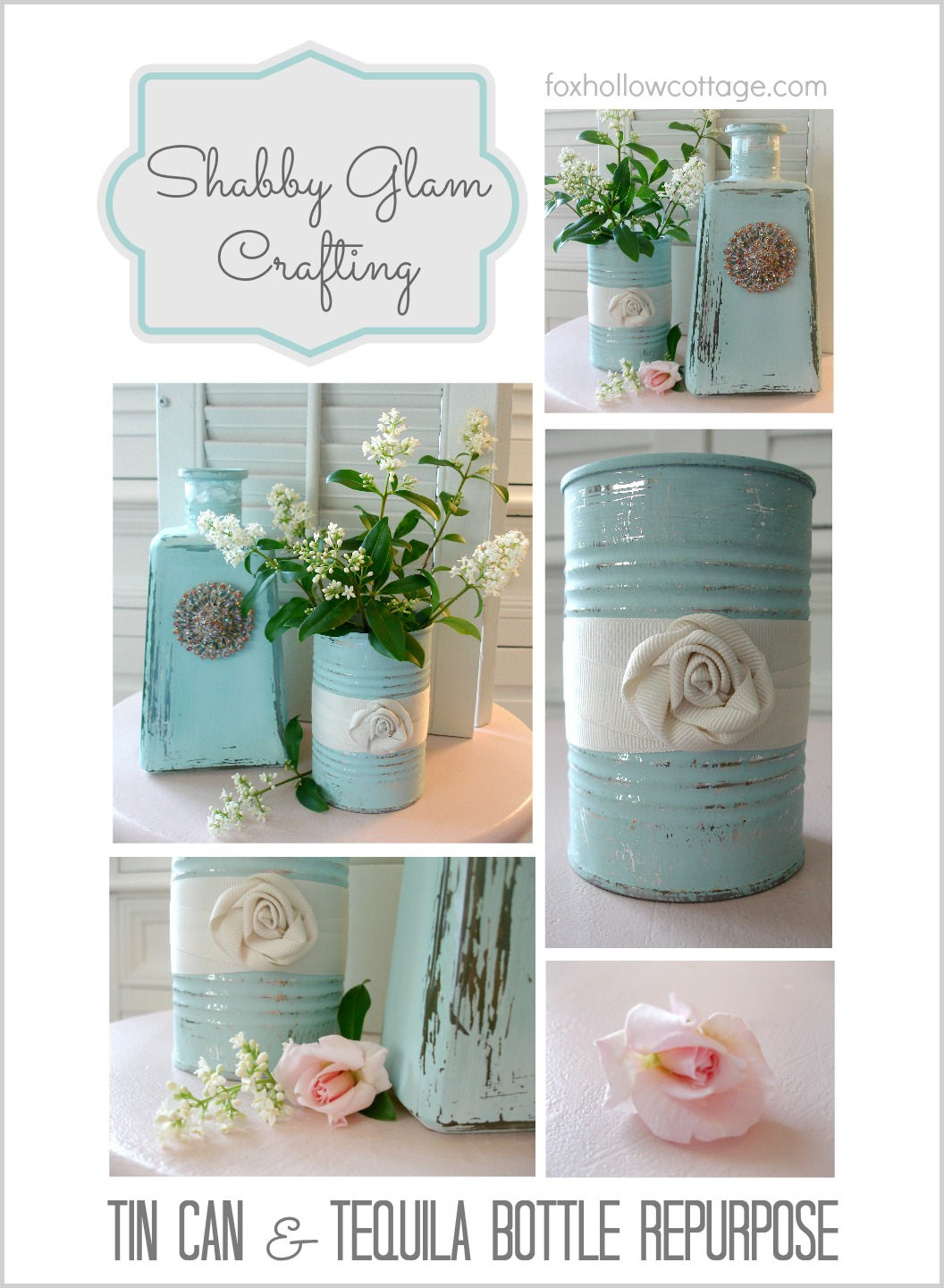 Glass bottle and tin can repurpose for Tin can diy ideas