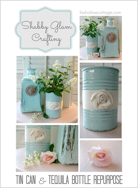 Aqua Tin Can Tequila Bottle Painted Craft #tincan #repurpose #upcycle