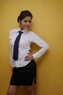 Gehna Vasisth in Formal Dress Spicy Tie White Shirt and Mini Skirt