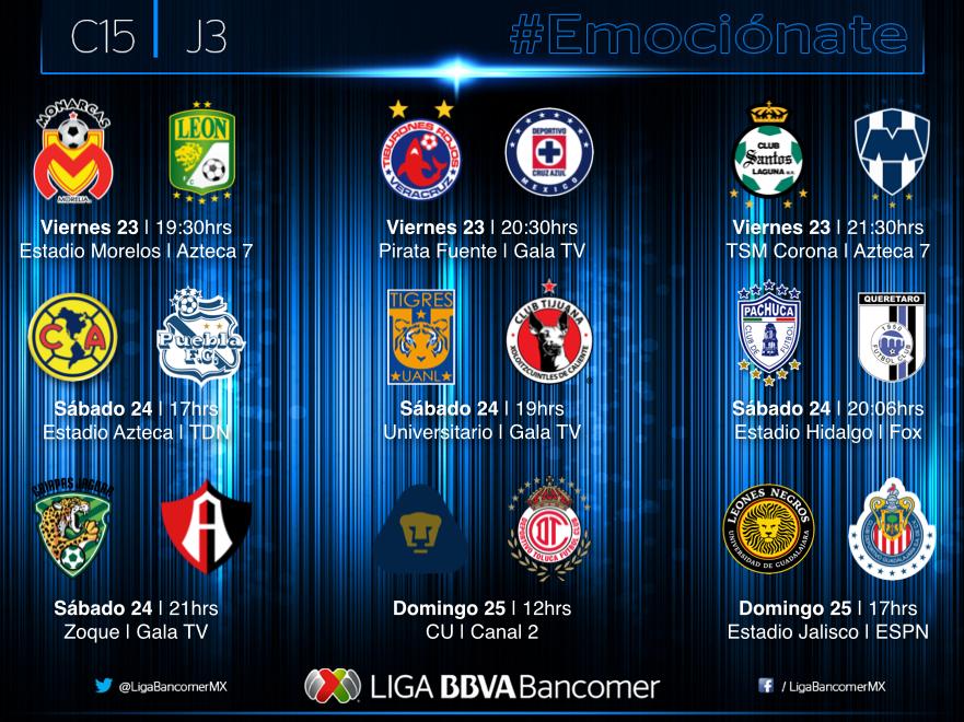 Partidos Jornada 3 Liga MX