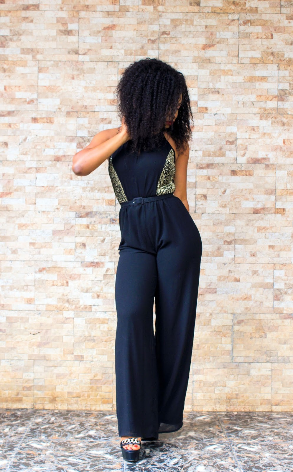 RETRO IN JUMPSUIT - Boohoo Black jumpsuit