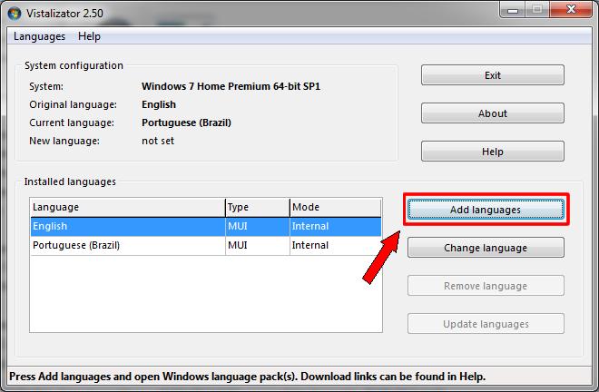 adicionar linguagem para traduzir o windows 7