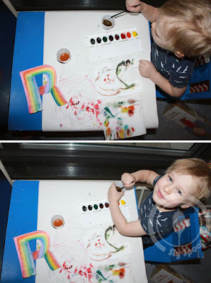 Toddler/Preshooler letter of the week craft R is for Rainbow with related craft, tracing sheets and fruits/vegetables.
