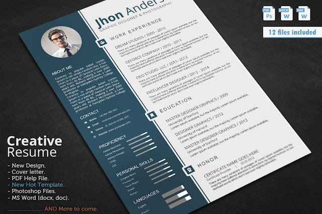 resume    cv template  updated in psd  doc  docx pdf